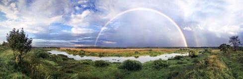 Rainbow on wood after rain royalty free stock photos