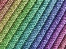 Rainbow Wool Fabric. Close-up view of wool fabric pattern with rainbow coulors Stock Photos