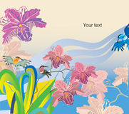 Rainbow world. Vector drawing of rainbow world with flowers and birds Stock Images
