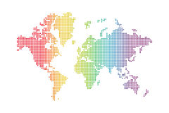 Rainbow world map Stock Images