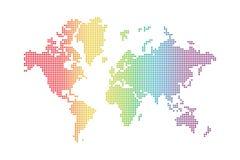 Rainbow world map. Rainbow spotted world map on white background Stock Images
