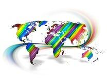 Rainbow World Map Royalty Free Stock Photography