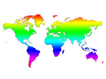 Rainbow World Map Royalty Free Stock Photography