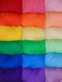 Rainbow of yarn Stock Photo