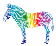 Rainbow zebra. On a white background Royalty Free Stock Images