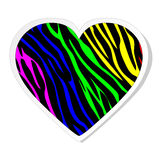 Rainbow zebra heart sticker Stock Photo