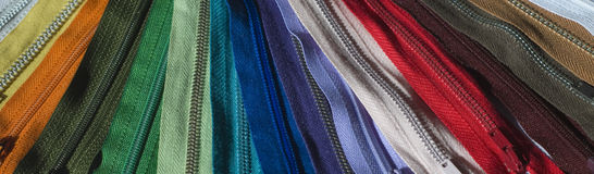Rainbow of zips Stock Photo