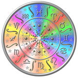 Rainbow zodiac disc. Illustration of rainbow zodiac disc Stock Image
