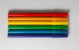 Rainbown水平的毡尖笔 图库摄影