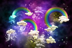 Rainbows. And clouds at night Royalty Free Stock Images