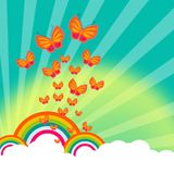 Rainbows. And sky with butterflies Royalty Free Stock Photo