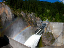 Rainbows Above Boundary Dam Stock Image