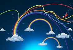 Rainbows. Beautiful rainbows in the sky with clouds and a little fairy fixing damaged rainbow after the storm Royalty Free Stock Photo
