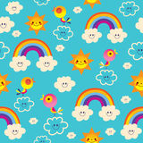 Rainbows birds clouds sun blue sky seamless pattern Royalty Free Stock Photography