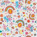 Rainbows, bunnies & birds pattern Stock Photos