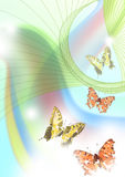 Rainbows and butterflies. Fantasy background with two rainbows and four butterflies in the serene sky Royalty Free Stock Images