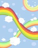 Rainbows and clouds. Cute clouds ride on the colored rainbows Royalty Free Stock Photography