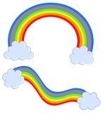 Rainbows with clouds. Vector illustration Royalty Free Stock Photography