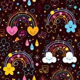 Rainbows clouds hearts cartoon pattern Stock Photo