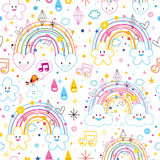 Rainbows clouds hearts pattern Royalty Free Stock Images