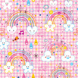 Rainbows clouds hearts raindrops seamless pattern Stock Image