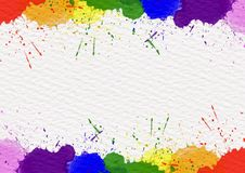 Rainbows colors dropped on white paper texture stock photography