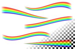 Rainbows curved lines on white tansparent. Set extending and narrowed, curved and wavy rainbows translucent lines on the white transparent background. Realistic stock illustration