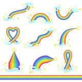 Rainbows Of Different Fantastic Shape Set Of Icons Stock Photography