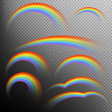 Rainbows in different shape realistic set. EPS 10. Rainbows in different shape realistic set on transparent background. EPS 10 vector file included Stock Photos