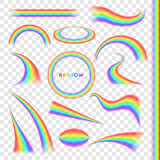 Rainbows in different shape realistic set Royalty Free Stock Image