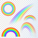 Rainbows in different shape realistic set  Stock Photos