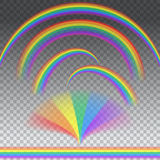 Rainbows in different shape. Transparent  rainbows in different shape, realistic set vector Royalty Free Stock Photos