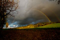 Rainbows. Double rainbows landscape in Cyprus durring winter time Royalty Free Stock Photography