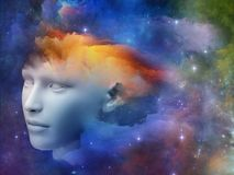 Rainbows of the Mind. Colorful Mind series. Background design of human head and fractal colors on the subject of mind, dreams, thinking, consciousness and Royalty Free Stock Photography