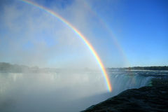 The Rainbows of Niagara Falls. The mists of Niagara Falls displaying both primary and secondary rainbows Royalty Free Stock Image