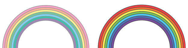 Rainbows original and pastel tumblr colors. Two vector elements. Geometric detail for design, background, print and textile Royalty Free Stock Photos