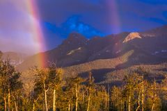 Rainbows over San Juan Mountains, Hastings Mesa, Ridgway Colorado, home of photographer Joe. Outdoor, juan. Rainbows over San Juan Mountains, Hastings Mesa royalty free stock images