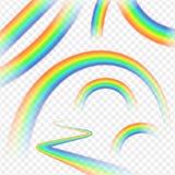 Rainbows realistic set on transparent background . Rainbows realistic set on transparent background Stock Photos