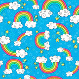 Rainbow Doodles Seamless Pattern Vector. Rainbows Sky and Clouds Seamless Pattern- Groovy Notebook Doodles Hand-Drawn Vector Illustration Background Royalty Free Stock Photography