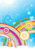 Rainbows and snowflakes Royalty Free Stock Photo