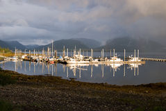 Rainbows in Tenakee Alaska. The boat habor and docks in Tenakee Springs, Alaska Royalty Free Stock Images