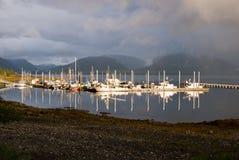 Rainbows in Tenakee Alaska. The boat habor and docks in Tenakee Springs, Alaska royalty free stock images