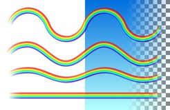 Rainbows translucent wave and straight lines. Set rainbows translucent wave and straight lines on the white and blue transparent background. Realistic vector Stock Illustration