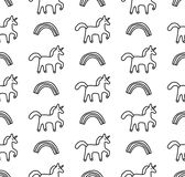 Rainbows and unicorns black and white seamless pattern Stock Image