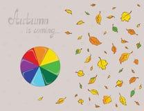 Rainbowy-Regenschirm und farbige Blätter Plan Stockfotografie