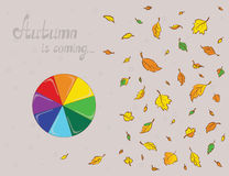 Rainbowy umbrella and colored leaves. Plan view. Illustration of a rainbowy umbrella and colored leaves. Plan view Stock Photography