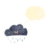 Raincloud retro cartoon Stock Images