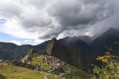 Rainclouds above Machu Picchu, Peru Stock Photography