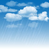 Rainclouds and rain in the blue sky. Summer background with rainclouds and rain in the blue sky. Vector illustration Royalty Free Stock Photography