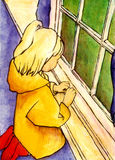Raincoat girl. GIrl in a yellow raincoat looks out the window vector illustration